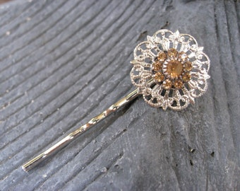 Golden Crystal Bobby Pin in Silver