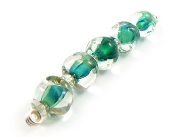 Sea Splash Pebble Lampwork Beads - Handmade Lampwork Beads - Set of 5 beads - Green, Blue, Pebble, Nugget, Sea, Ocean, Beach - MadeByFire