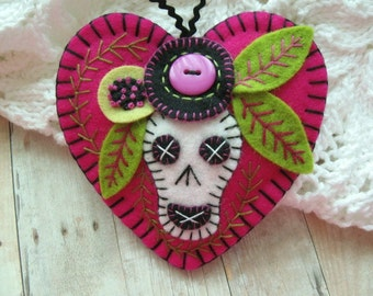 Calavera Ornament - Made to Order Embroidered Fiber Art