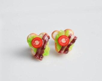 BLT Sandwich Stud Earrings -Handmade Miniature Food Jewelry- Bacon Scented Gift