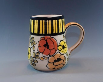 Coffee Mug, Hand Painted Pottery, Stoneware Mug, Hand made pottery mug  SKU154-004