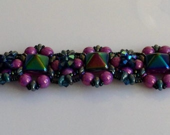 Purple beaded bracelet, DBJO, Made in Sweden
