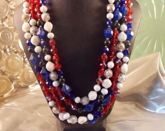 Hattie Carnegie Bead necklace with clip on Earrings