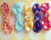 mini KNOT fabric bow headband/clips (pick 3)