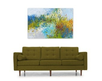 Digital Print, Abstract Painting, Instant Download Reproduction, Modern Home Decor Wall Art, blue green orange, Days Like This by Torrant