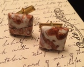 Vintage White and Bronze Color Cufflinks