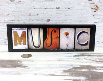 MUSIC Sign - Teacher Gift - Picture on Wood - Musician Present - Singer - Piano - Photo Letter Art - Alphabet Photography - Home Decor Sing