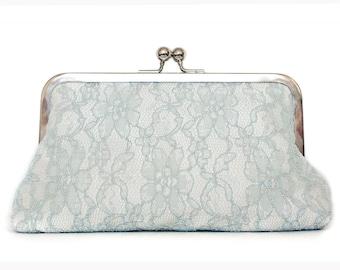 Grey lace purse, ivory silk clutch, something blue, winter wedding, large size purse, bridal clutch, silver kisslock frame