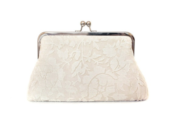 Wedding Bridal Clutch Cotton and Linien Large Size Purse Eco Style Ready to ship Made in England UK