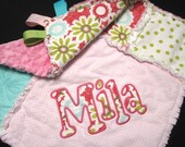 Sweet Divinity Personalized Rag Security Blanket - Mini Rag Quilt - Girl baby blanket, flower lovie, pink, green, turquoise, name monogram
