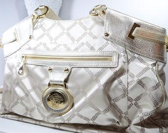Versace purse / logo gold shiny / gold leather handles / Designer Handbag / gold satin lining / greek key / mothers day / tote / bag