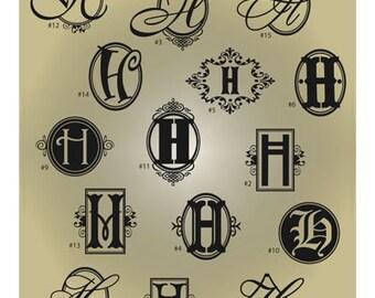 Monogram Letter H SVG Files - Ai Svg Eps Gsd - Cuttable SVG Monogram H - Monogram Vector File for Vinyl Cutters - Monogram Digital Cut File