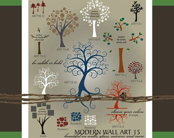 Tree Wall Decal SVG - Tree Wall Art Vectors - Ai Eps Svg Gsd - Tree Vector Files for Vinyl Cutters - Family Tree SVG - Family Photo Tree SVG