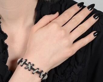 Creepy Cute Gothic Jewelry  - Frankenstein Monster Glam Stitches Choker - Glow in the dark stitches- 2 piece set