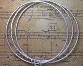 Three circle triple sterling silver bangles