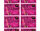INSTANT DOWNLOAD Digital Sports HOCKEY only Girl Children's Valentine's Day Printable Cards in Pink