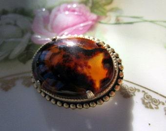 Vintage Brown Moss agate brooch Pin
