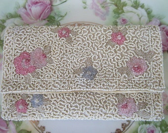 French France Micro Beaded small clutch Purse Pink flowers