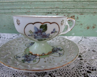 Vintage Teacup Tea Cup and Saucer Violets and Hearts  by Lefton