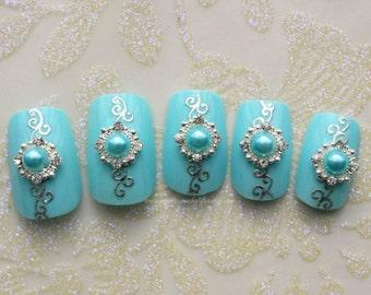 Something Blue. Wedding, Bridal, Fake Nails, Press On Nails, False Nails Set, Japanese Nail Art, 3D Fake Nails , Something Blue, Bejeweled