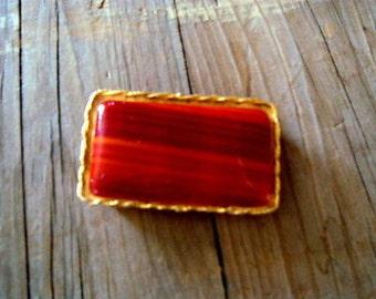 Vintage LIDZ Belt Buckle Orange Faux Agate Gold Toned Setting