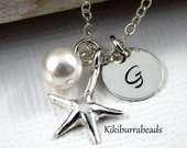 Personalized Starfish Necklace  Initial Necklace Beach Wedding