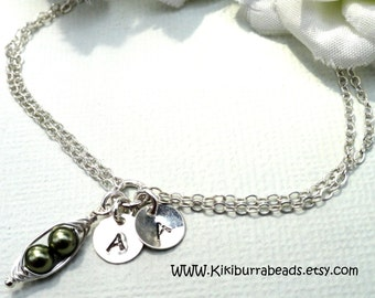 Personalized Friendship Bracelet With Hand Stamped Initials  Two Peas In A Pod Bracelet Best Friend Gift