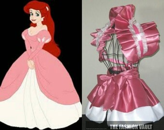 Inspired Ariel pink dress and princess Peach cosplay burlesque set bolero  wrap apron bustle skirt French maid