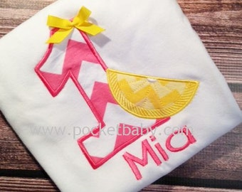 Personalized Lemonade Birthday Shirt - Lemonade stand party - Pink Lemonade Birthday Shirt - You choose your fabrics