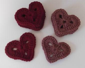 Crochet Hearts Motifs - set of four - ready to ship