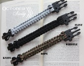 4 Tool Survival Paracord Bracelet, Knife, Flint, Whistle, & Rope