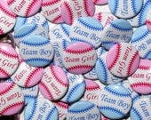 "100 Baby Shower 1"" Pinbacks - BASEBALL Team Girl Team Boy - Pink Blue - Gender Reveal Party"