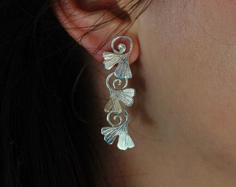 ginkgo earrings in sterling silver