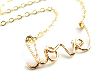 Gold love Necklace. 14k Gold Filled Wire Love necklace. Aziza Jewelry