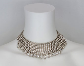 1950's Mid Century RHINESTONE CHOCKER Necklace. Hollywood Glamour. OOAK