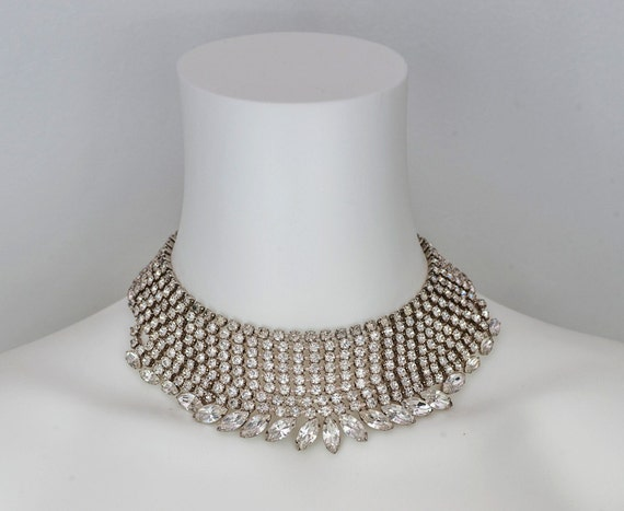 1950's Mid Century RHINESTONE CHOCKER Necklace. Hollywood Glamour. OOAK