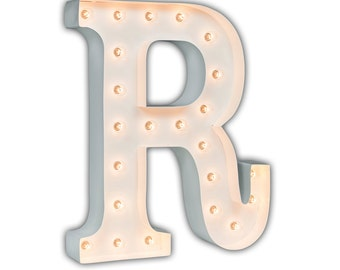 "SALE - Light Up Letter R - WHITE - 24"" Vintage Marquee Lights-The Original!"