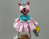 Tulip Bunnykins - Whimsical Easter  Bunny Paperclay Collectible Art Doll