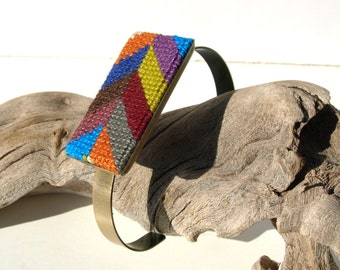 Needlepoint Bracelet Cuff in Herringbone