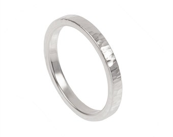 Slim Hammered Woodgrain Ring- Sterling Silver- Made to order in your size