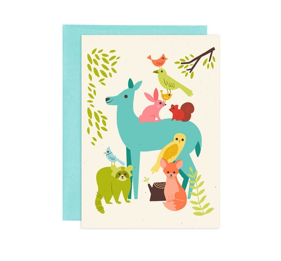 Eastern Forest Friends Illustrated Greeting Card