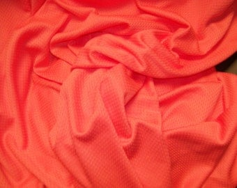 "Deep Peach Melon Jersey Knit Polyester Fabric  60"" Wide  Sold by the Yard"