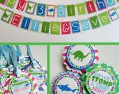 Dinosaur Shark Birthday Party Decorations Blue Green Pink Fully Assembled