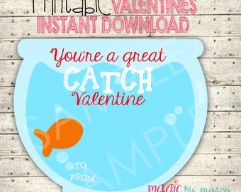 INSTANT DOWNLOAD DIY Valentines Day Printable Great Catch Goldfish Valentine