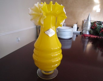 Sunflower Yellow Ruffled Glass Vase