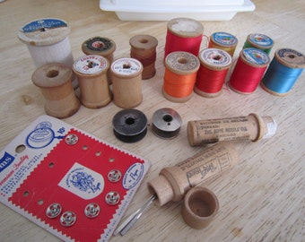Wooden Thread Spools Needles Bobbins Fasteners