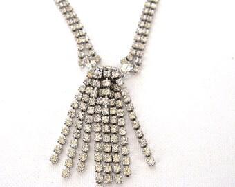 Vintage Rhinestone Necklace, 8 Tassel Dangles