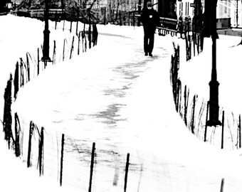 Central Park in snow - walking in Snow black and white nyc wall decal big apple the city snow and fences winter decor Fine Art Print 8x10