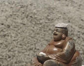 Happy Buddha - Budda zen gift idea YOGA room decor statue keep calm asian Asia culture Taiwan Japan gift for her for him Fine Art Print