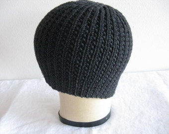 Charcoal Beanie. Hand Knit Ribbed Hat in Gray Merino Wool. Winter Fashion Accessories.